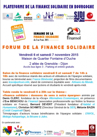 Premier forum de la finance solidaire à Dijon