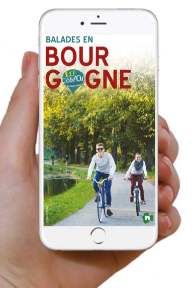 l'application Balades en Bourgogne, disponible gratuitement sur AppStore et Google Play.